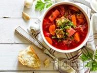 Рецепта Полска супа борш от свинско месо, червено цвекло и заквасена сметана